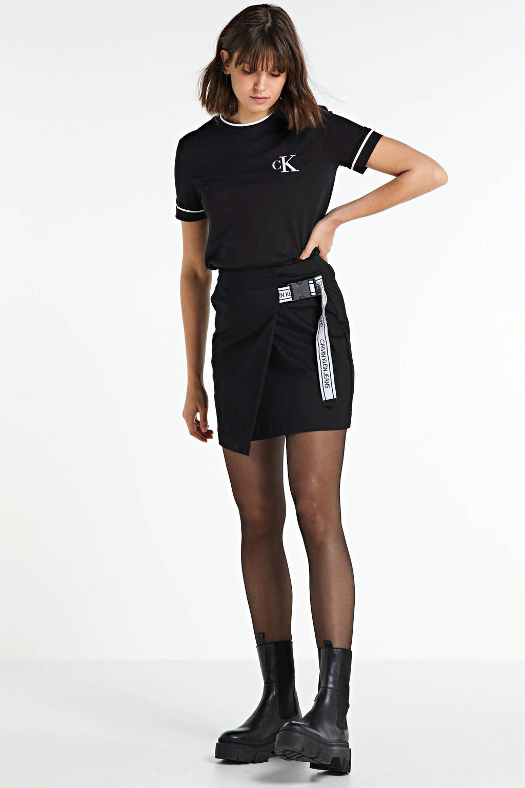 CALVIN KLEIN JEANS T-shirt met biologisch katoen zwart/wit, Zwart/wit