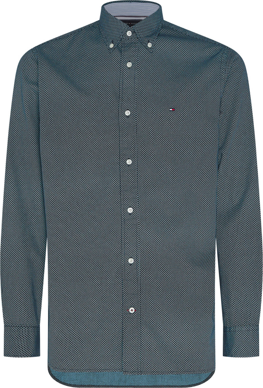 Tommy Hilfiger regular fit overhemd met all over print donkerblauw/turquoise, Donkerblauw/turquoise