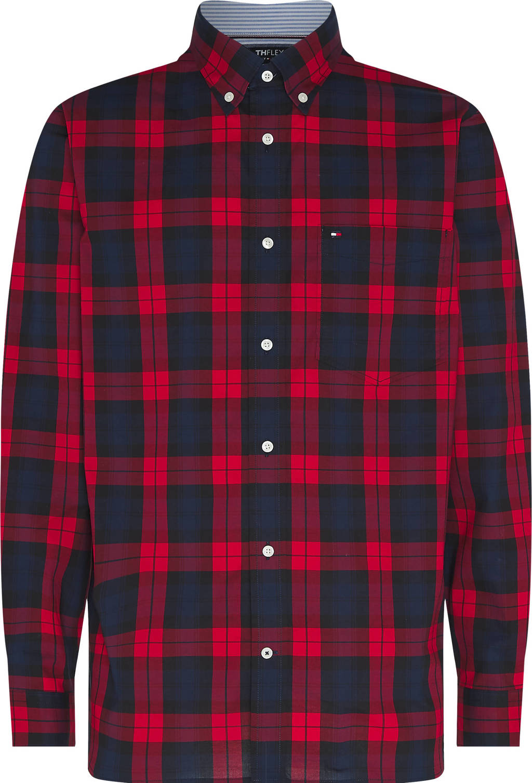 Tommy Hilfiger geruit regular fit overhemd rood, Rood