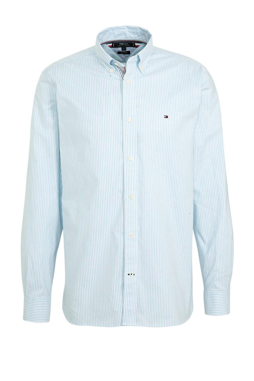 Tommy Hilfiger gestreept regular fit overhemd met biologisch katoen lichtblauw/wit, Lichtblauw/wit