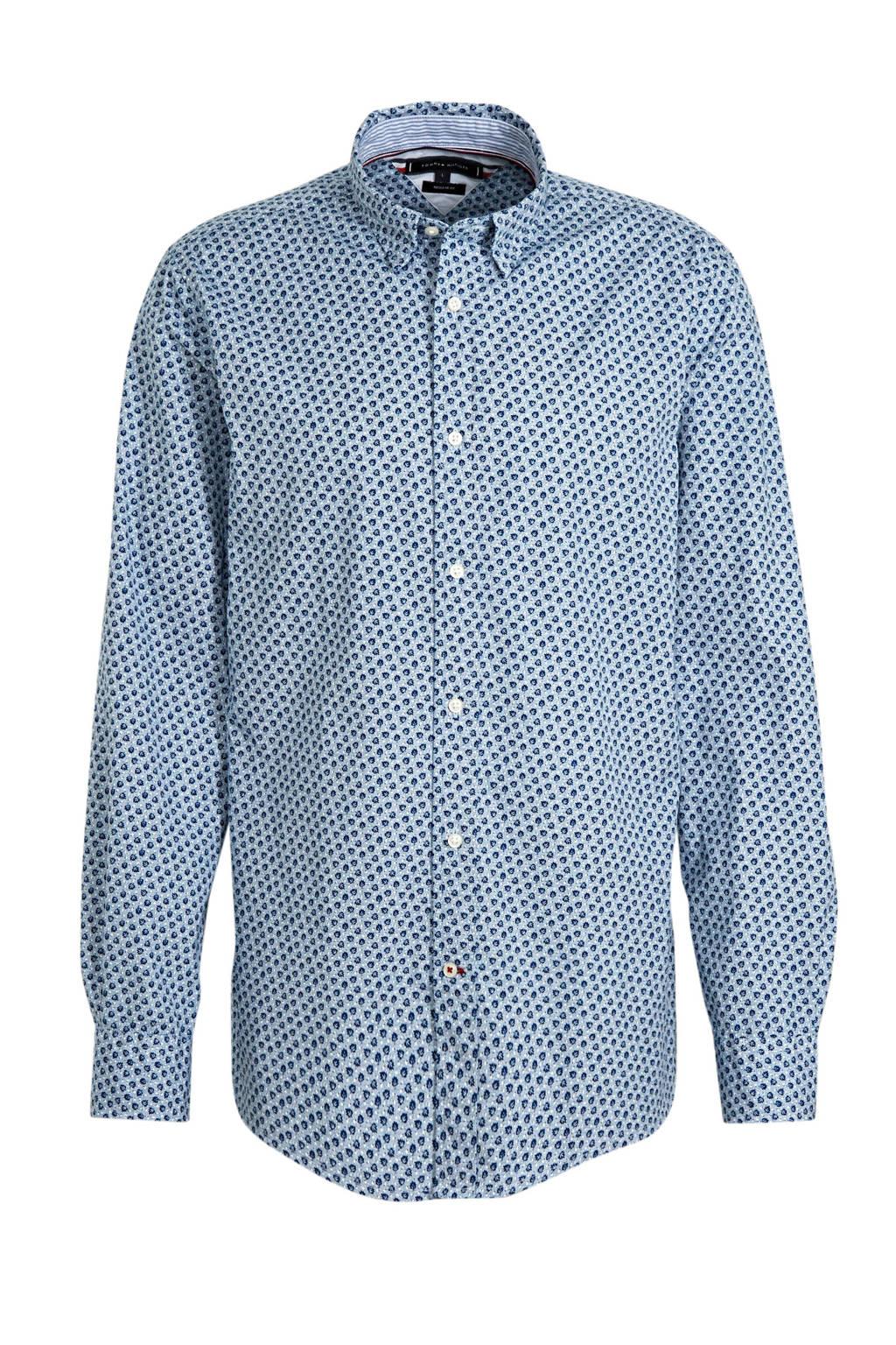 Tommy Hilfiger regular fit overhemd met all over print lichtblauw, Lichtblauw