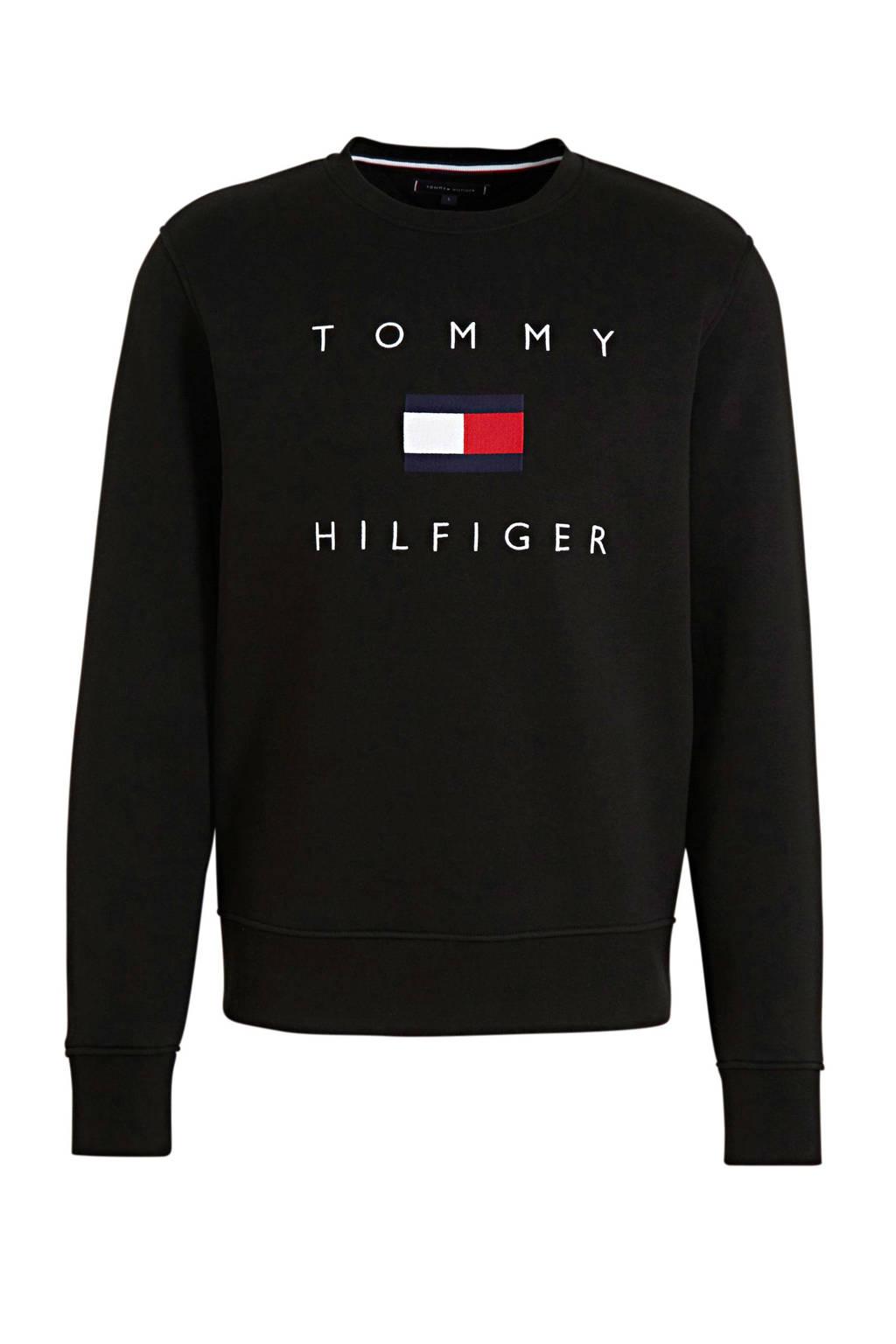 Tommy Hilfiger sweater met logo zwart/blauw/rood, Zwart/blauw/rood