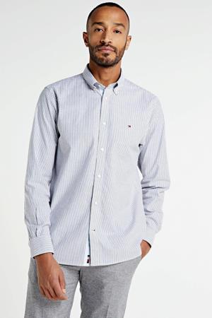 gestreept regular fit overhemd met biologisch katoen donkerblauw/wit