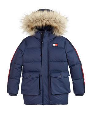 gewatteerde winterjas met contrastbies donkerblauw/rood