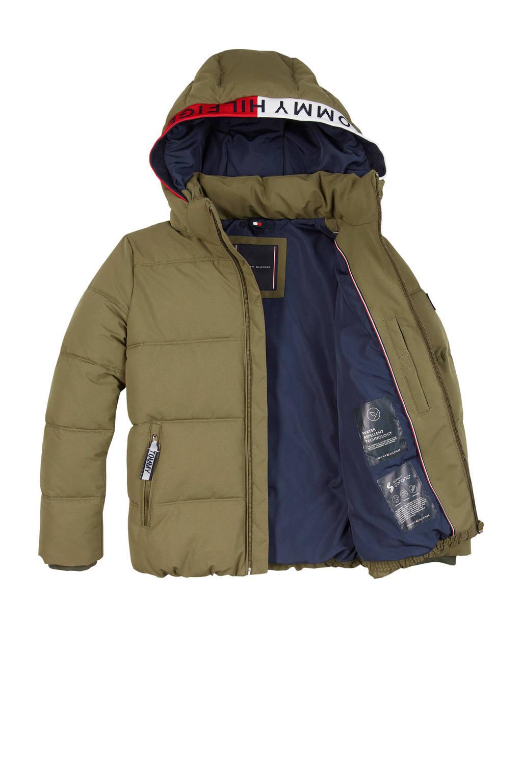 Tommy Hilfiger gewatteerde winterjas met contrastbies olijfgroen/rood/donkerblauw, Olijfgroen/rood/donkerblauw