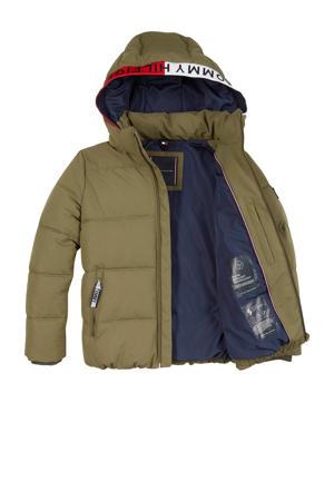 gewatteerde winterjas met contrastbies olijfgroen/rood/donkerblauw