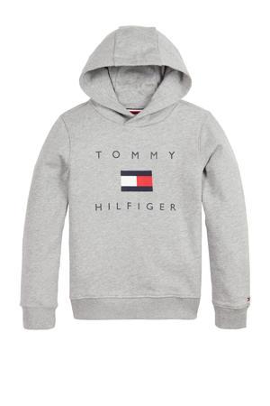 hoodie met logo grijs melange/donkerblauw/rood