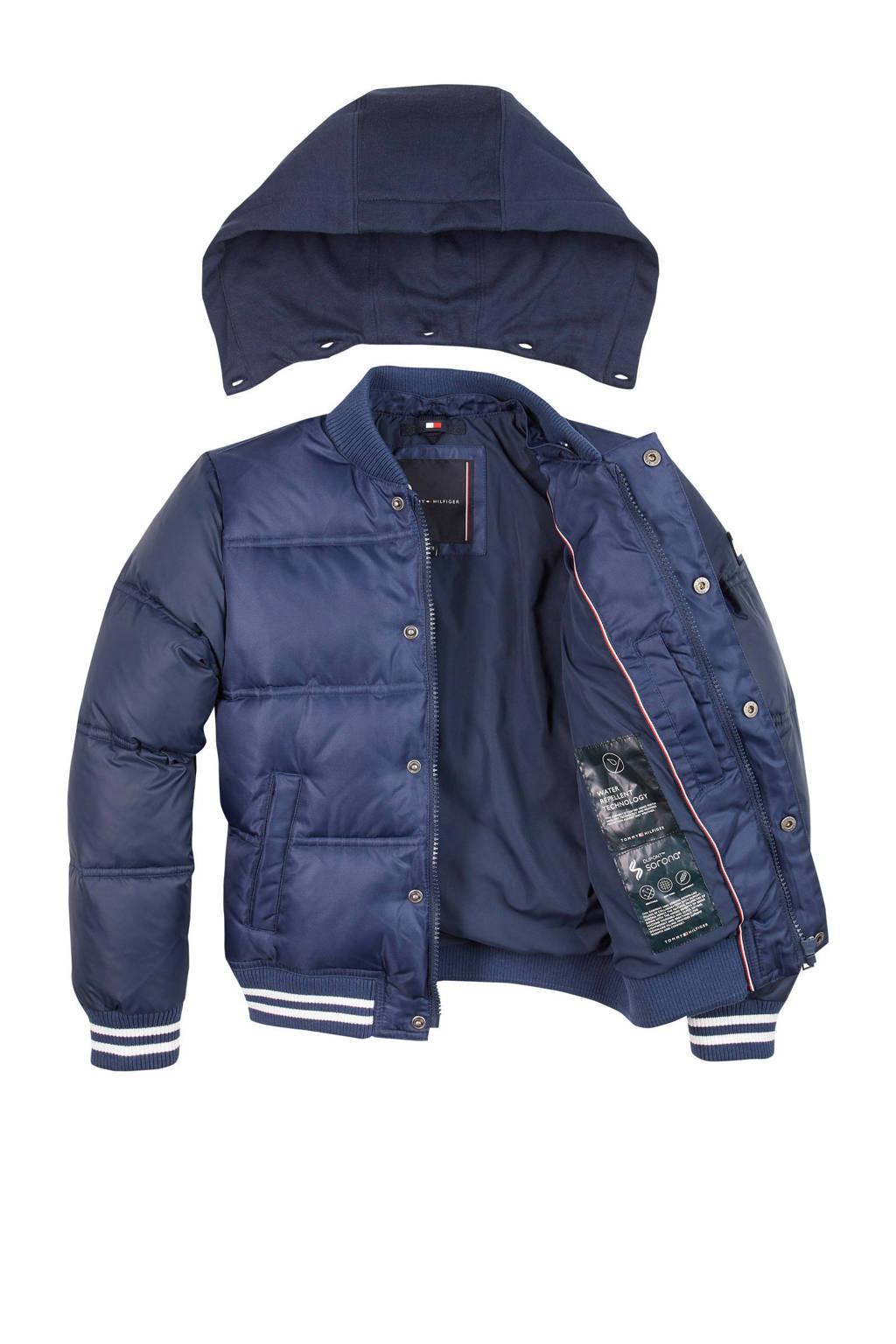 Tommy Hilfiger gewatteerde winterjas met borduursels donkerblauw/wit, Donkerblauw/wit