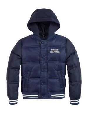 gewatteerde winterjas met borduursels donkerblauw/wit