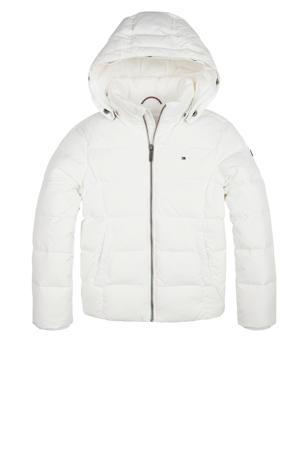 Gewatteerde winterjas met imitatie bontkraag wit