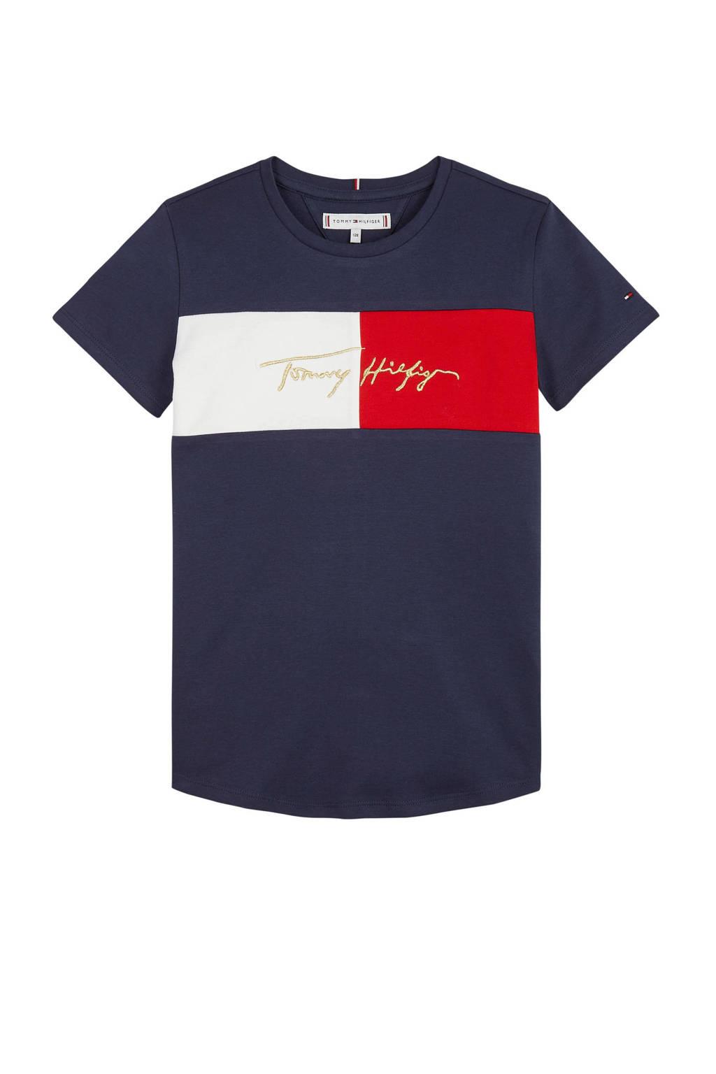 Tommy Hilfiger T-shirt met logo donkerblauw, Donkerblauw
