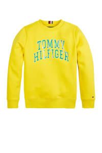 Tommy Hilfiger sweater met tekst geel/groen, Geel/groen
