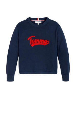 sweater met logo donkerblauw/rood