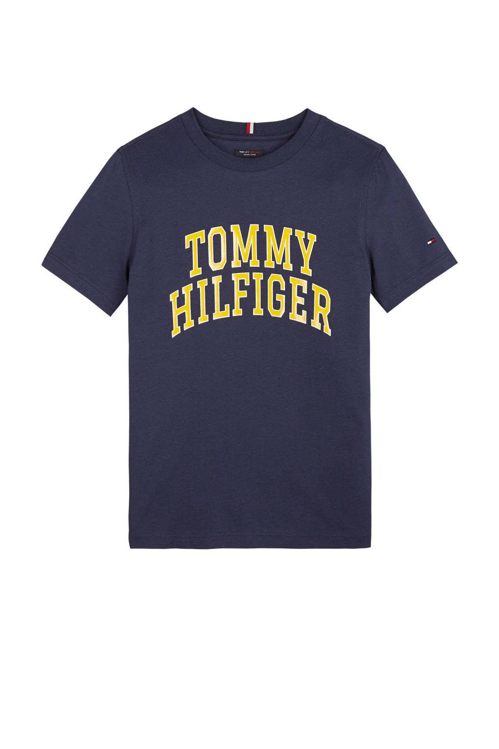 Tommy Hilfiger T-shirt van biologisch katoen donkerblauw/geel, Donkerblauw/geel