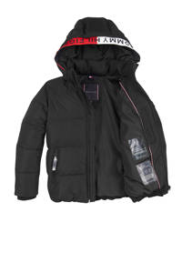 Tommy Hilfiger gewatteerde winterjas met contrastbies zwart/rood/wit, Zwart/rood/wit