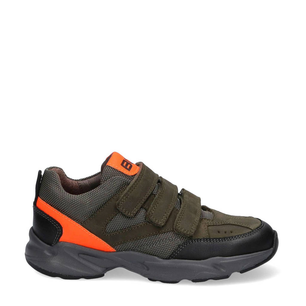 Braqeez Felix Fit  leren sneakers groen/oranje, Groen/oranje