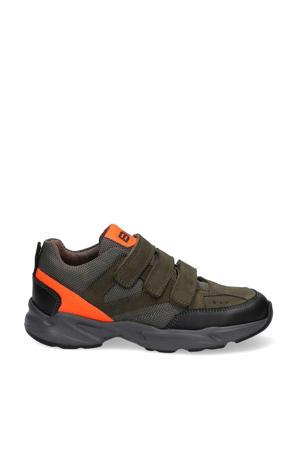 Felix Fit  leren sneakers groen/oranje