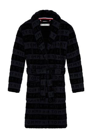 gestreepte badjas met logo zwart
