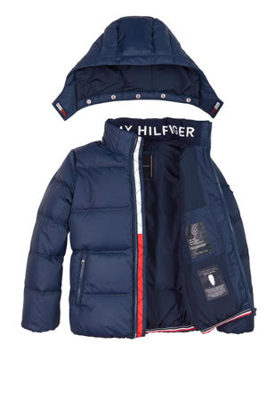 gewatteerde winterjas donkerblauw