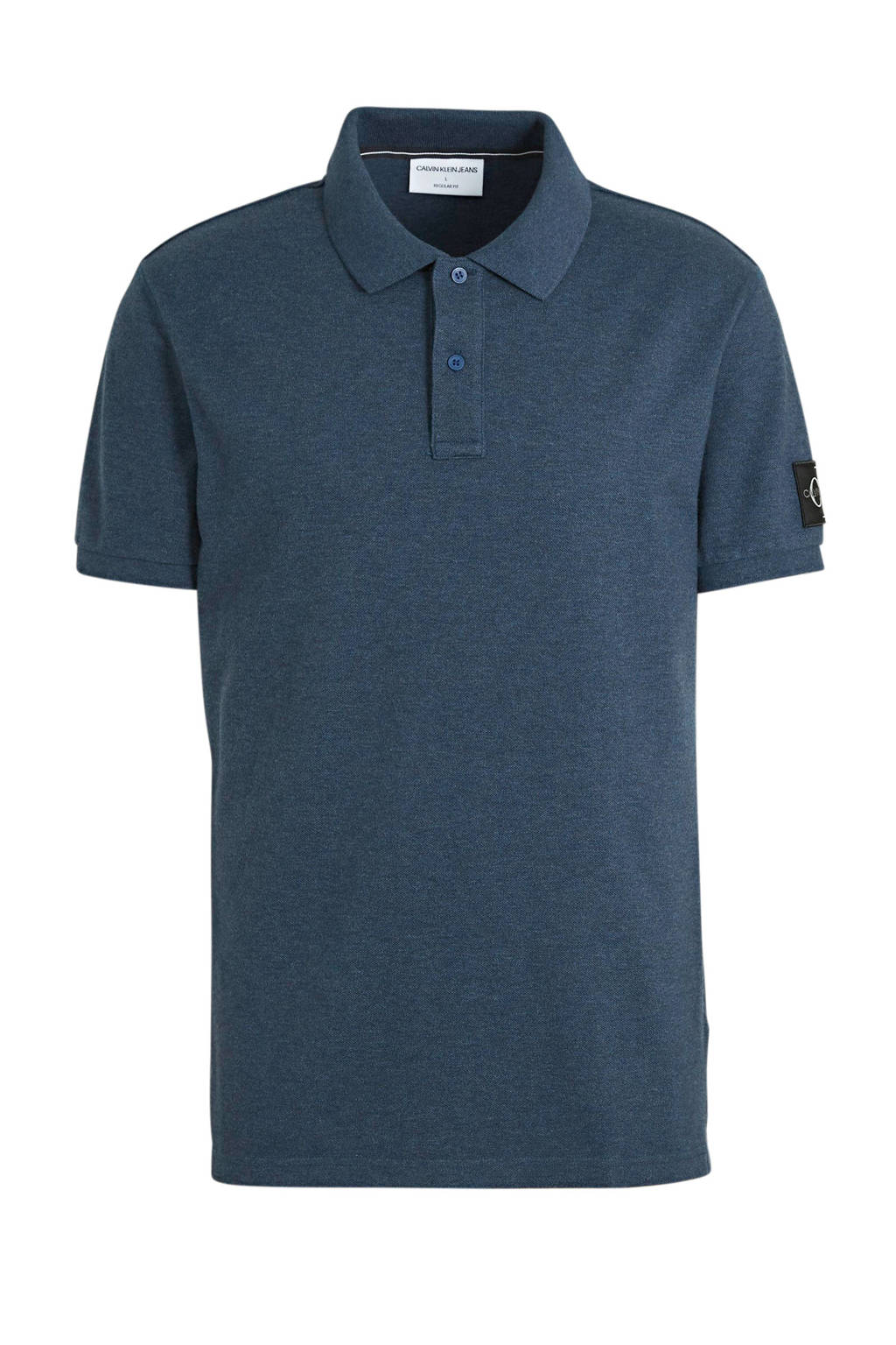 CALVIN KLEIN JEANS regular fit polo donkerblauw, Donkerblauw