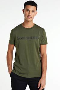 CALVIN KLEIN JEANS T-shirt van biologisch katoen olijfgroen, Olijfgroen