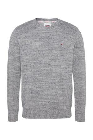 gemêleerde fijngebreide trui van biologisch katoen grijs