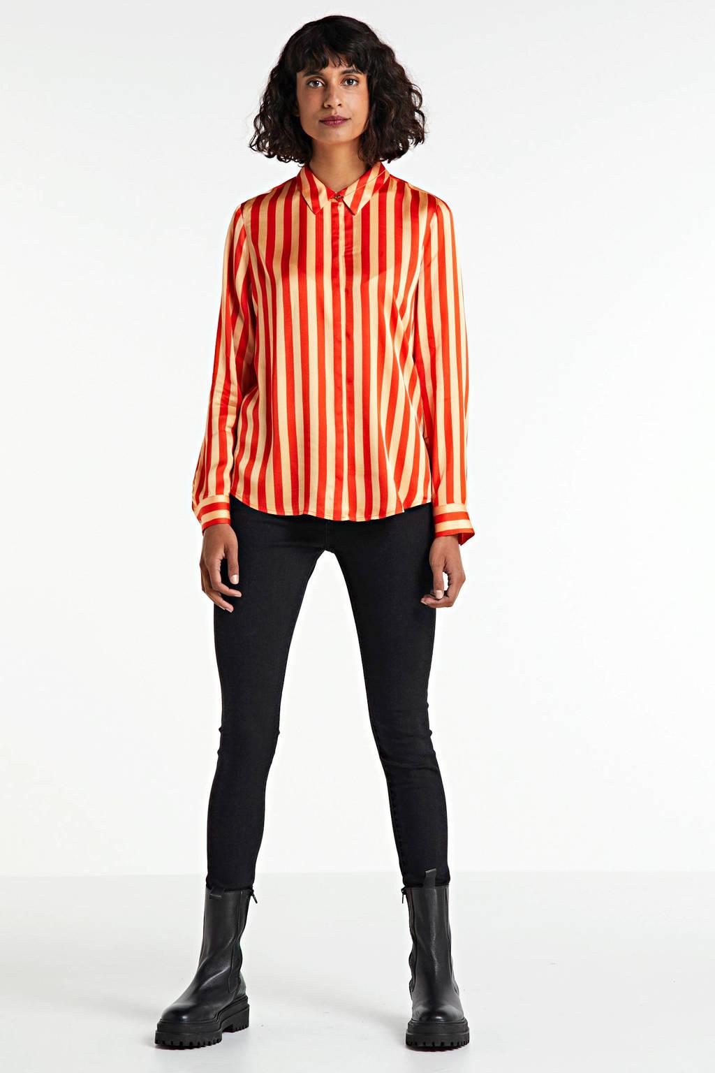 Scotch & Soda gestreepte blouse rood/oranje, Rood/oranje