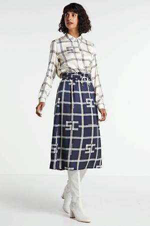blouse met all over print ecru/donkerblauw