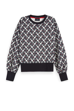 sweater met all over print zwart/rood