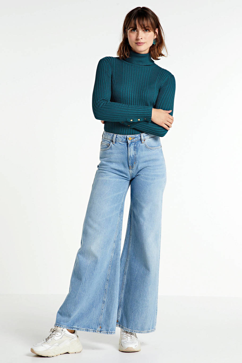 Scotch & Soda high waist loose fit jeans light blue denim, Light blue denim