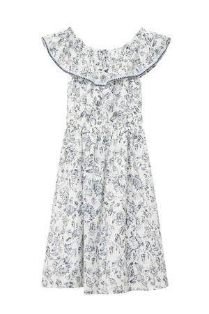 gebloemde off shoulder jurk offwhite/blauw