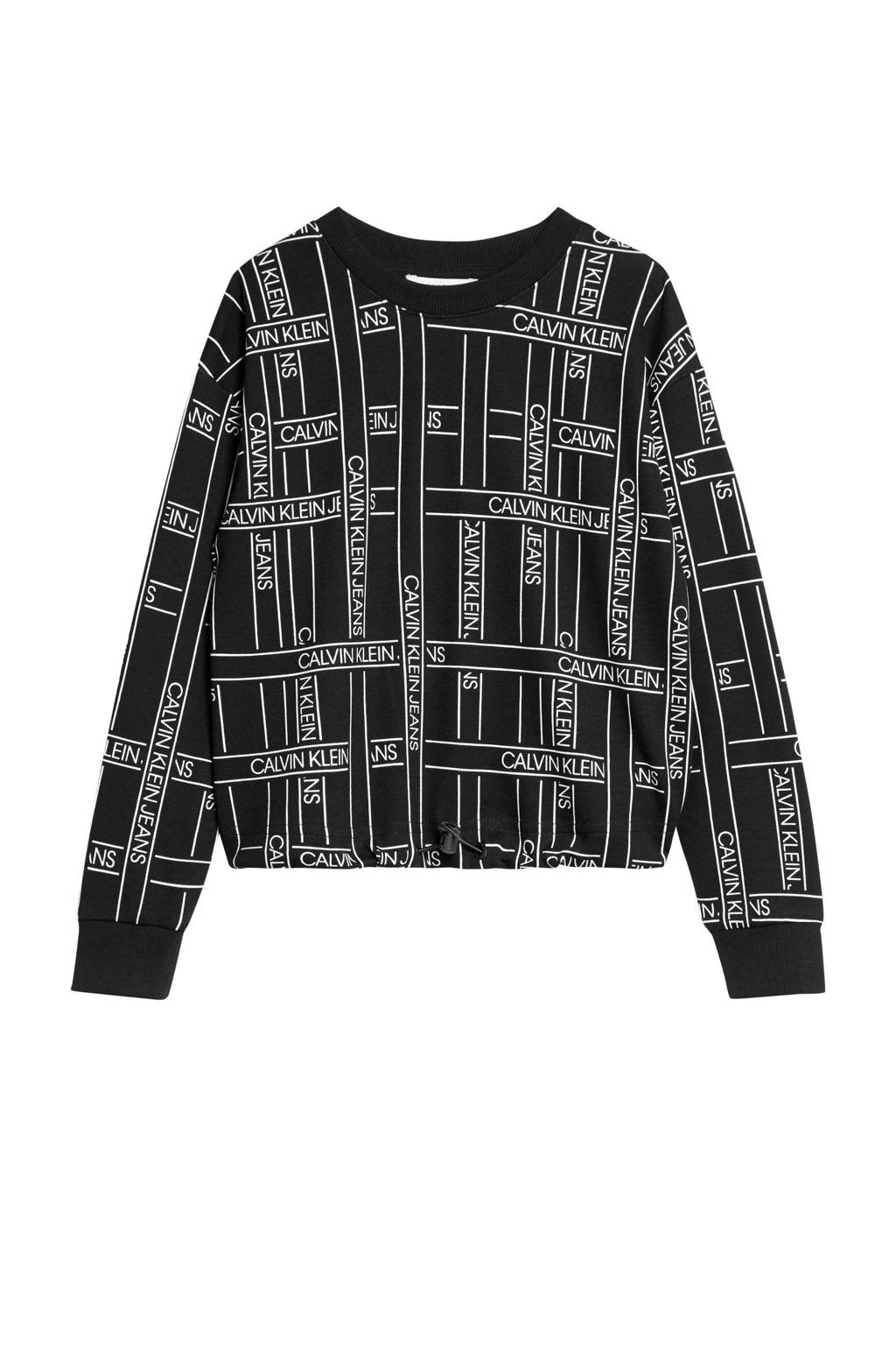 CALVIN KLEIN JEANS sweater met all over print zwart/wit, Zwart/wit