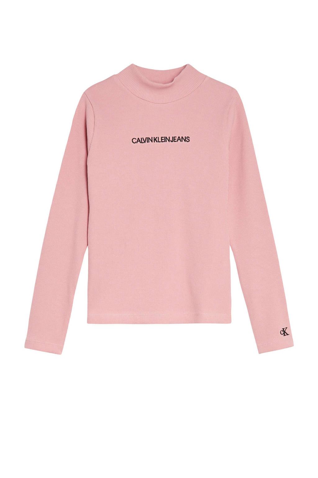 CALVIN KLEIN JEANS longsleeve met biologisch katoen roze/zwart, Roze/zwart
