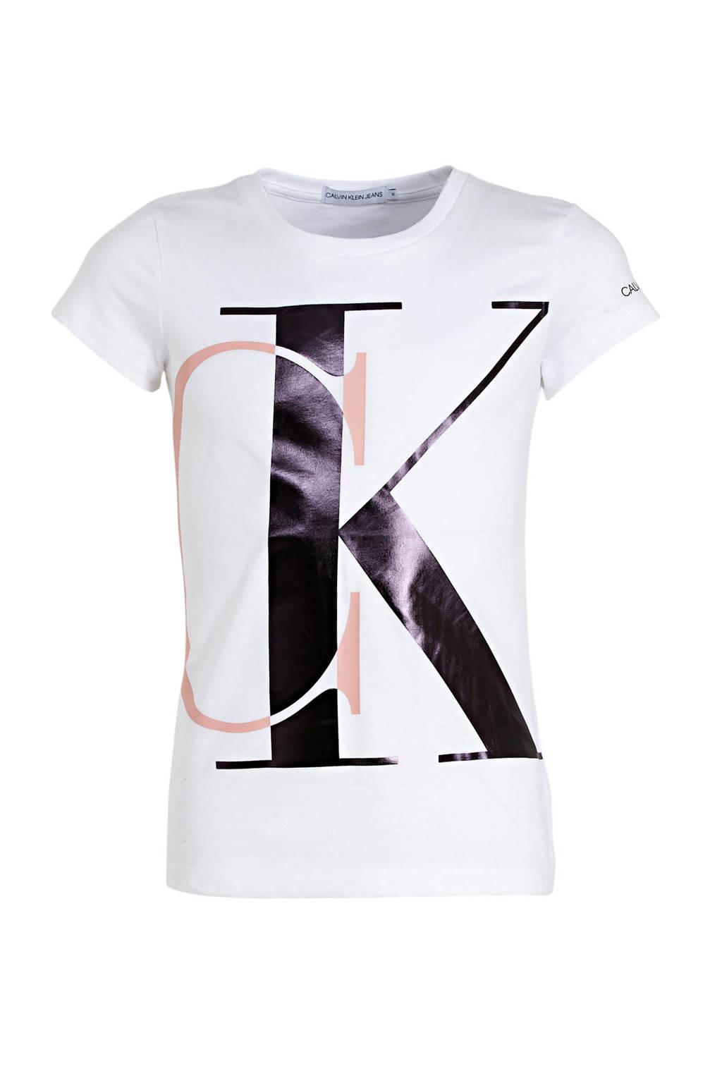 CALVIN KLEIN JEANS T-shirt van biologisch katoen wit/roze/zwart, Wit/roze/zwart