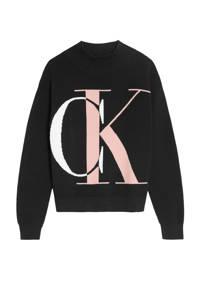 CALVIN KLEIN JEANS sweater met logo zwart/wit/roze, Zwart/wit/roze