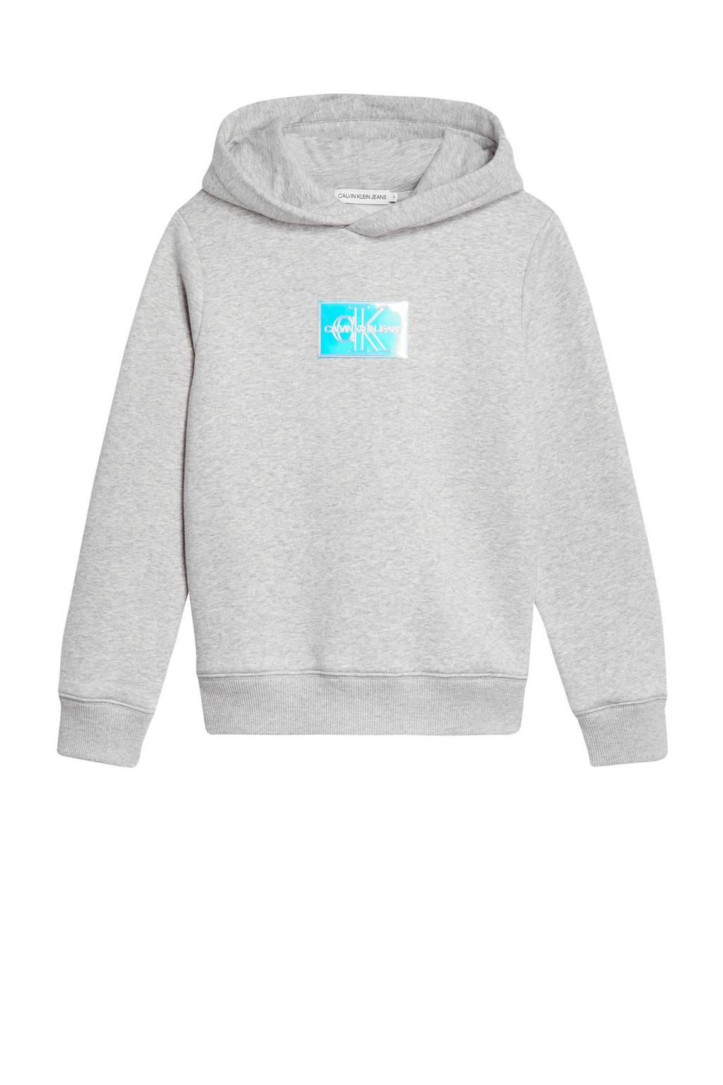 CALVIN KLEIN JEANS hoodie met logo lichtgrijs, Lichtgrijs