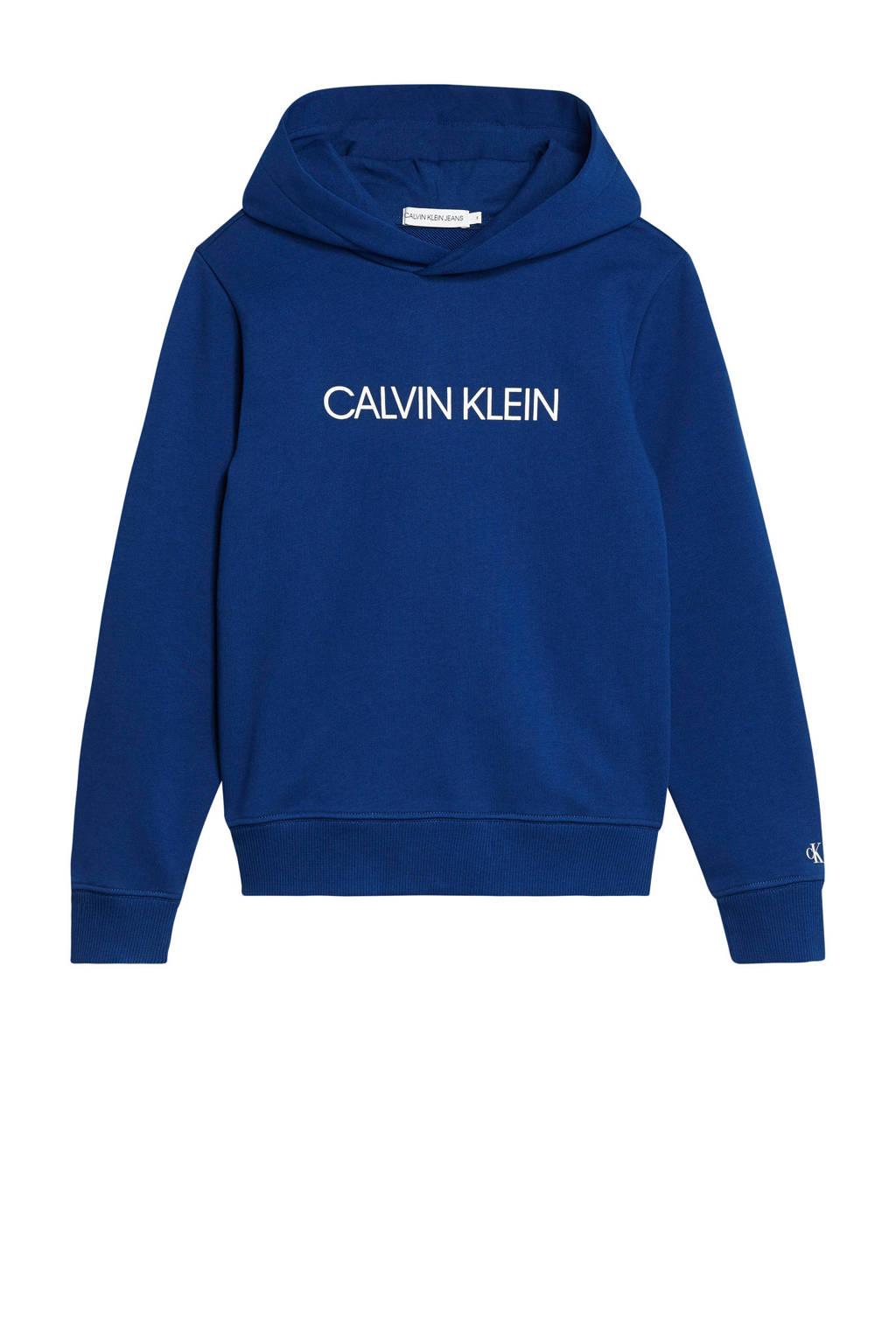 CALVIN KLEIN JEANS hoodie met logo blauw/wit, Blauw/wit