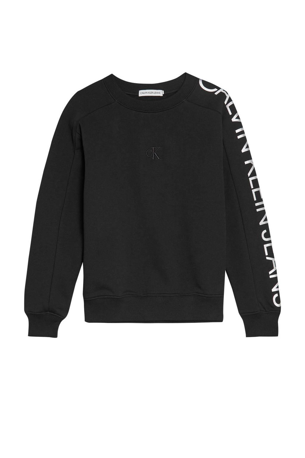 CALVIN KLEIN JEANS sweater met logo en borduursels zwart, Zwart