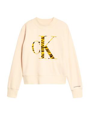 sweater met logo beige