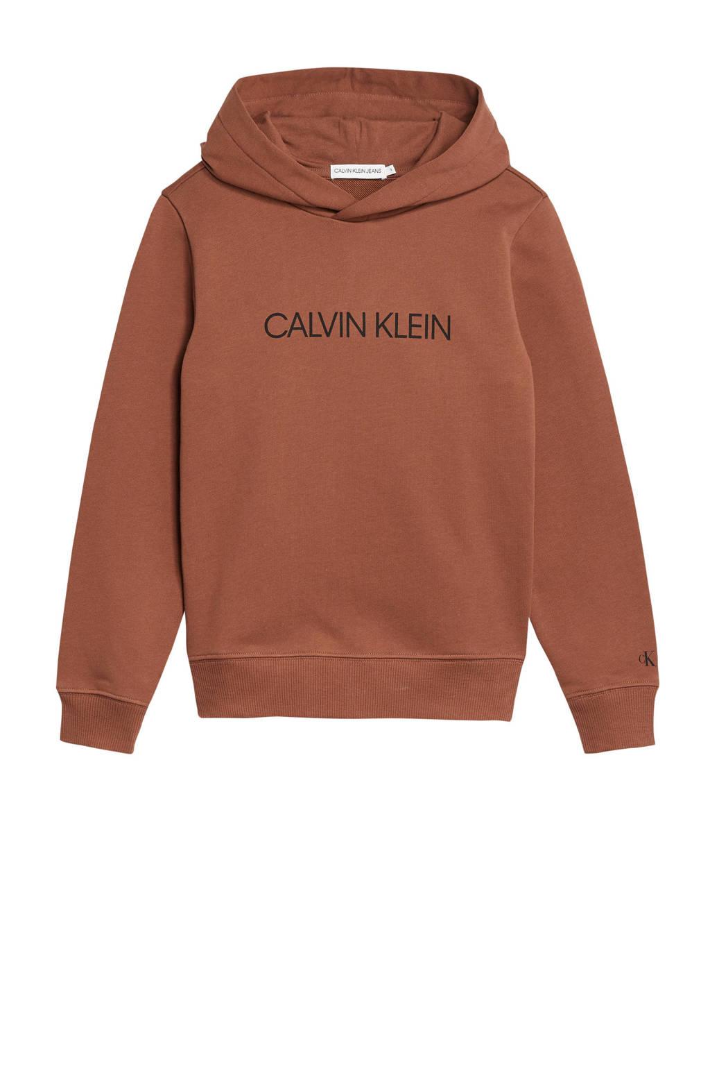 CALVIN KLEIN JEANS hoodie met logo cognac/zwart, Cognac/zwart