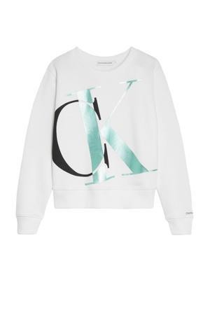 sweater met logo witzwart/groen