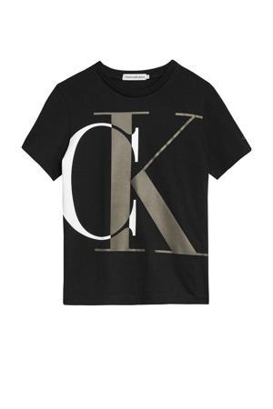 T-shirt van biologisch katoen zwart/antraciet/wit