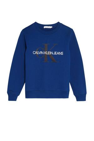 sweater met logo blauw/wit/zwart