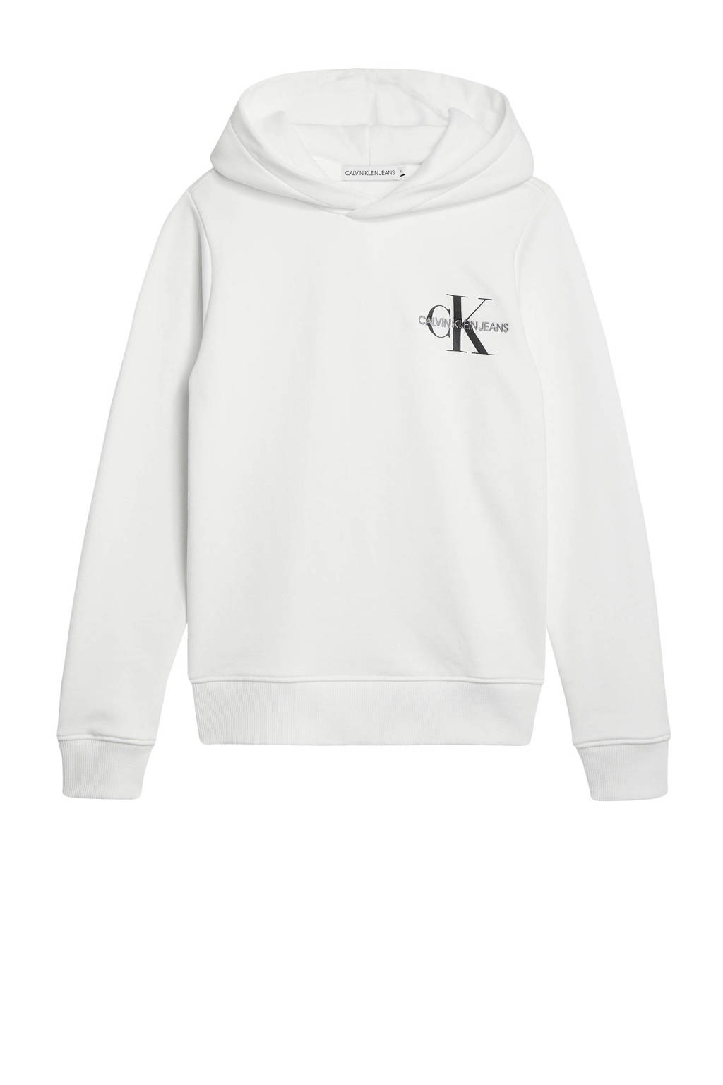 CALVIN KLEIN JEANS hoodie met logo wit/zwart, Wit/zwart