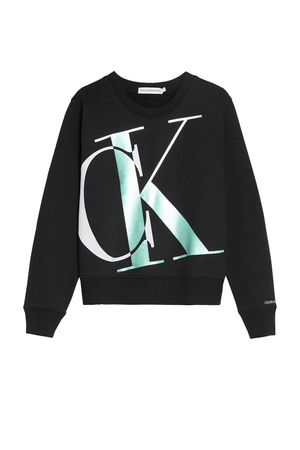 CALVIN KLEIN JEANS sweater met logo zwart/wit, Zwart/wit