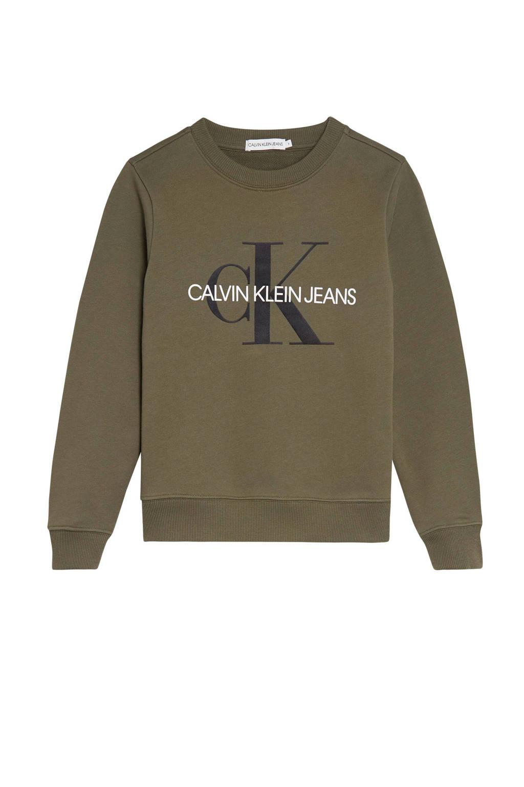 CALVIN KLEIN JEANS sweater met logo olijfgroen/zwart/wit, Olijfgroen/zwart/wit