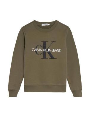 sweater met logo olijfgroen/zwart/wit