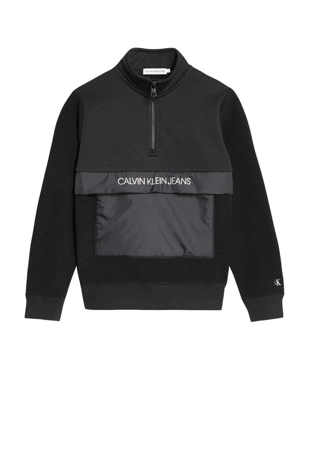 CALVIN KLEIN JEANS fleece sweater met logo zwart, Zwart
