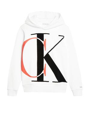 hoodie met logo wit/zwart/oranje
