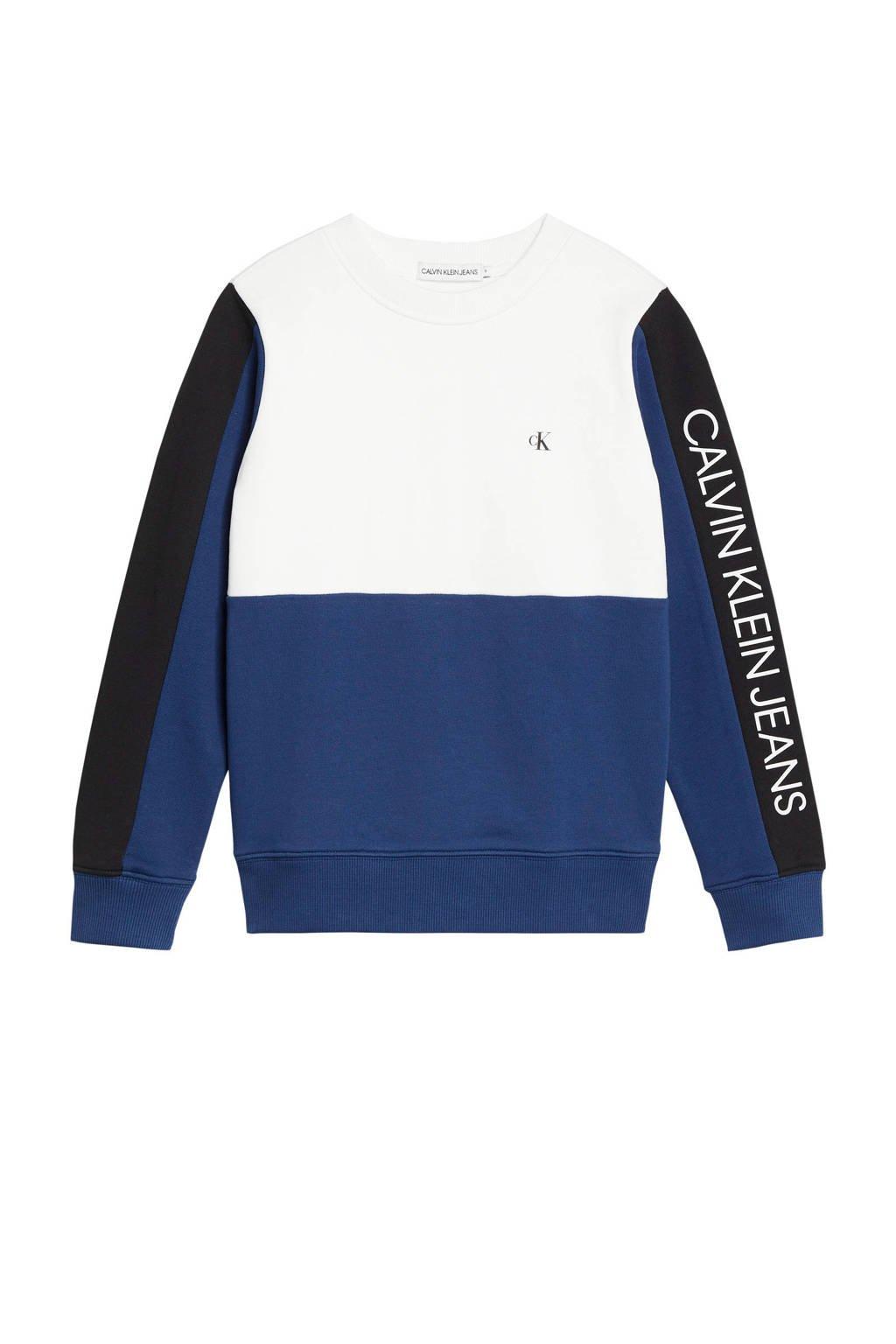 CALVIN KLEIN JEANS sweater blauw/wit/zwart, Blauw/wit/zwart